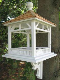 Home Bazaar Dream House Pine Shingle Roof Bird Feeder, Fly-Through Gazebo Bird Feeder at Songbird Garden