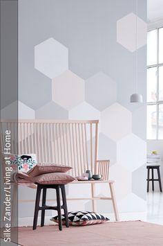 diy-anleitung: geometrische wand mit dreiecken streichen via ... - Kinderzimmer Wandgestaltung Ideen Farbe Tapete