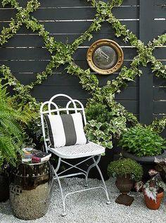 Treillis extérieur avec plantes grimpantes