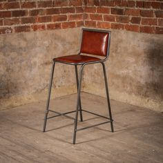 Rusticus Vintage Leather Metal Acre Bar Stool - Furniture from J.N Rusticus Ltd UK- jnrusticus- Bar Stool Seats, Cool Bar Stools, Modern Bar Stools, Bar Chairs, Office Chairs, Dining Chairs, Metal Stool, Leather Bar Stools, Metal Bar Stools