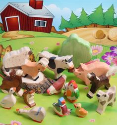 SALE 20% Off! Wooden farm animal set, Large Set of 15, Waldorf, FARM Animals, pig, sheep, cow, Toys for Kids, Partyfavors for Boys Girls