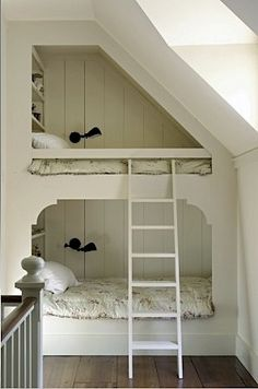 """"""""""" Small Sleeping Spaces """""""" Best bunk beds ever. Farmhouse Children's Room """""""" Bunk Beds Built In, Cool Bunk Beds, Kids Bunk Beds, Loft Beds, Built In Beds For Kids, Canopy Beds, Bunk Rooms, Attic Bedrooms, Quirky Decor"""