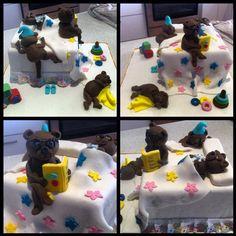 Teddy bear cake - bed time scene.