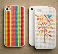 I-Phone cases that have been cross stitched!