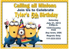 Girly Minion Birthday Party Invitation Invite Chalkboard Girl