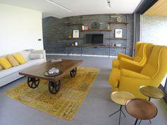 My industrial decoration with yellow IKEA Strandmon armchairs