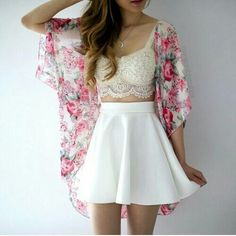blond, blonde, brown, crop, cropped, croptop, curls, curly, fashion, floral, flowers, girl, hair, kimono, long, love, ombre, outfit, pink, skirt, straight, style, summer, top, white
