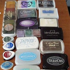 This is a handy reference guide for what stamp paper inks work best for what! These are just a small sample of my ink pad stash! Many people are put off rubber stamping by the huge array of ink pads that are availab. Card Making Tips, Card Making Techniques, Making Ideas, Diy Papier, Stamp Pad, Tips & Tricks, Card Tutorials, Ink Pads, Copics