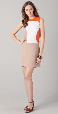 Raoul Colorblock silk dress with leather panels