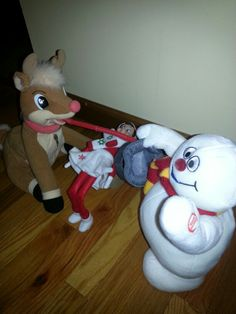 How low can you go? A little limbo fun with Frosty and Rudolph!