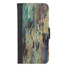 Custom Violet Purple Taupe Teal Stripes Art iPhone 8/7 Wallet Case - pattern sample design template diy cyo customize