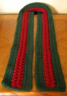 Red and Green Handmade Long Winter Scarf - Textured Wine Red Cluster Accent - Long 63 inches | by @rssdesignsfiber of  RSS Designs In Fiber - Crochet - Made with so-Soft Caron Simply Soft Double Strand - Warm and Soft!