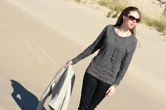 dolman sweater - black & cream