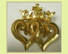 Paule Ingrand French Art Deco Designer Gilded Bronze Crown Brooch,Paris 1940s--SOLD
