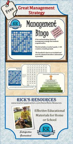 "A Great Management strategy for kids of just about any age. Kids will work hard for ""numbers"" they can use to get ""bingo"" and earn fabulous rewards. This kit includes a teacher's guide, number blackline, and reward pyramid example. All you need is the 1-100 chart. See it at my teacher store: http://www.teacherspayteachers.com/Store/Ricks-Resources"