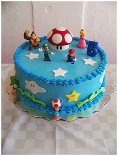 Super Mario Theme for my nephew's birthday Mario Birthday Cake, Birthday Party At Park, Super Mario Birthday, Mario Bros., Mario Party, Boys Bday Cakes, Super Mario Cake, Nintendo Party, 4th Of July Cake