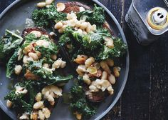 Skillet Bruschetta with Beans and Greens Recipe - Bon Appétit