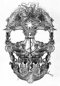 Skull made of multple sea objects.