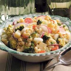 Garden Macaroni Salad- I would use half mayo and substitute sour cream or ranch dressing for the other half