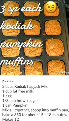 Kodiak Pancake mix pumpkin muffins. Freestyle Weight Watchers 3 sp