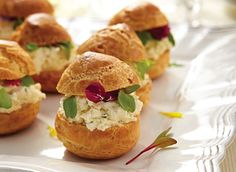 Savoury Cream Cheese Profiteroles     For a delicious and fresh spring entrée that your guests will appreciate, serve these cute and delightful pastries stuffed with a luscious cream cheese and sundried tomato pesto filling.    Get this recipe http://www.dairygoodness.ca/recipes/savoury-cream-cheese-profiteroles?WT.mc_id=DGE_RCP_NL-