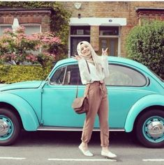 belted tan pant hijab casual look