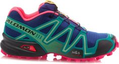 Solomon trail running shoe. Snow and off road. G BLUE/EMERALD GREEN/HOT