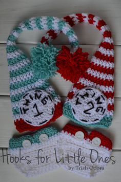 Dr. Seuss Thing 1 and Thing 2 crochet hat and diaper cover