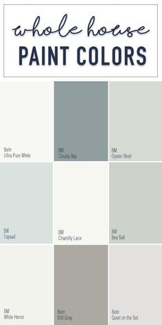 Paint colors for a whole home color palette with calming neutral paint colors from Behr, Benjamin Moore, and Sherwin Williams. Paint colors for a whole home color palette with calming neutral paint colors from Behr, Benjamin Moore, and Sherwin Williams. Color Palette For Home, Paint Colors For Home, Lowes Paint Colors, Calm Colors For Bedroom, Playroom Paint Colors, Fixer Upper Paint Colors, Family Room Colors, Valspar Paint Colors, Bedroom Paint Colors