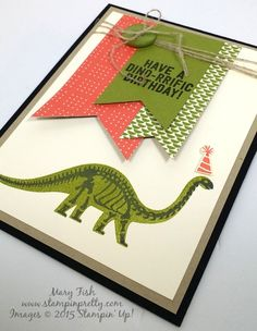Dinosaur Stampin' Up! No Bones About It StampinUp stamp set by Mary Fish Stampin… Boy Cards, Kids Cards, Cute Cards, Birthday Cards For Boys, Happy Birthday Cards, Kids Stamps, Dinosaur Cards, Birthday Card Design, Animal Cards