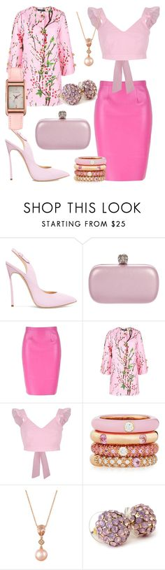 """""""Pink to make the boys wink!"""" by aheavingham ❤ liked on Polyvore featuring Casadei, Alexander McQueen, River Island, Adolfo Courrier, LE VIAN and Ted Baker"""