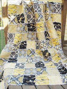 King Size Quilt, Rag, Aviary 2 in granite, black yellow grey, ALL NATURAL, fresh modern handmade bedding. $409.00, via Etsy.