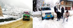 A vehicle moving through snowclad road in Bhaderwah (left) and people clearing snow at Nihama D H Pora in Kulgam on Sunday. -Excelsior/Tilak Raj and Sajjad Dar