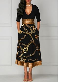 Women Black Fit And Flare Casual Dress V Neck Three Quarter Sleeve Mid Calf High Waisted Gold Chain Printed Glitter Midi Dress By Rosewe Gold Chain V Neck Midi Dress, Lace Sheath Dress, Blue Fashion, African Fashion, Fashion Goth, Womens Fashion, Women's Fashion Dresses, Sexy Dresses, Tight Dresses