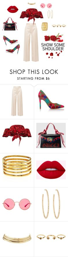 """Rihanna"" by echolsitalie on Polyvore featuring The Row, Vivienne Westwood, Johanna Ortiz, Gucci, Kenneth Jay Lane, Ray-Ban, Berry, Charlotte Russe and House of Harlow 1960"