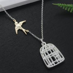 Gold Bird Cage Necklace . Be Free Bird - Divorce, Going away Gift - Silver Birdcage, Sparrow Necklace on Etsy, $24.80