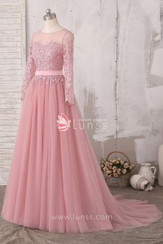 lace appliqued dusty pink illusion neckline A line tulle prom evening dress