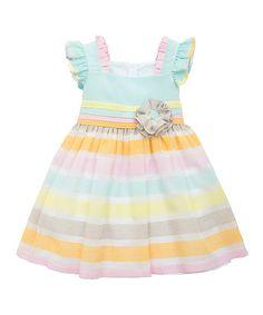 Love this Aqua Stripe Dress - Toddler & Girls by Rare Editions on #zulily! #zulilyfinds