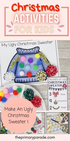 This fun Christmas activity for kids is a great holiday math game to practice counting with your preschoolers. Decorate an ugly Christmas sweater with this fun Christmas printable and more. Preschool Christmas Activities, Christmas Crafts For Kids, Kindergarten Activities, Winter Activities, Preschool Jungle, Kindergarten Christmas, Preschool Learning, Christmas Holiday, Christmas Ideas