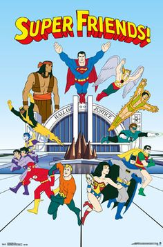 An awesome poster of the Super Friends - classic cartoon superheroes from the DC Comics Justice League! Check out the rest of our amazing selection of DC Comics posters! Old School Cartoons, Old Cartoons, Classic Cartoon Characters, Classic Cartoons, Book Characters, Gi Joe, Desenhos Hanna Barbera, Superhero Cartoon, Superman Movies