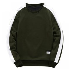 Men Army Green Patched Colorblock Sweatshirt Male Clothes Casual Autumn Long Sleeve Clothing Mens Pullovers Army Green M Cute Sweatshirts, Sweatshirts Online, Sweaters And Jeans, Mens Clothing Styles, Men's Clothing, Army Green, Casual Outfits, Pullover, Long Sleeve