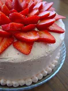 Strawberry Cake  Whatever frosting you choose, be sure to add freshly sliced strawberries on the top in a concentric pattern and jaws will drop. This cake is extremely moist, flavorful, and easy and everyone always comments on how beautiful it is.