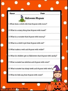 BEST SELLER! { Top 100 On TpT } Halloween Happenings : A Thematic & Activity Packet For Halloween. This unit has 50 pages of games, activities and printables all relating to Halloween. ~Halloween Word & Book List ~ Making Connections ~ Five Senses Printable ~ Halloween Rhymes & Verbs ~ Halloween Word Scramble & Web ~ Writing Activities ~ ABC Order Activity ~ Venn Diagrams ~ Word search & Maze ~ Many Graphic Organizers ~ Math Ghost-It Games $