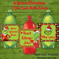 A Grinch Christmas – 2 LITER SODA BOTTLE LABLES ------------------------------------------------------ WHAT'S INCLUDED WITH PURCHASE ------------------------------------------------------ PDF file with - 3 printable 2 liter bottle labels that can be printed as many times as you want. Just ...
