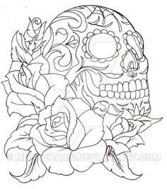 Sugar Skull Tattoo by Metacharis.deviantart.com on @DeviantArt