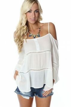 Off Shoulder Boho Blouse $29.99 Size L. sophieandtrey