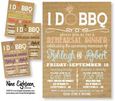 I Do BBQ Rehearsal Dinner Invitation Cardboard look Custom PRINTABLE PDF invitation. I design, you print. Made to Match add ons available. on Etsy, $12.00