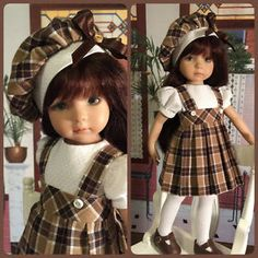 """Autumn Plaid"" Made for Effner Little Darling by Treasured Doll Designs 