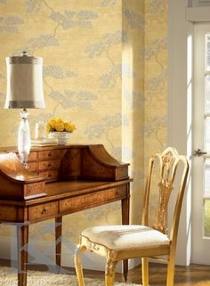 York Wallcovering - york wall com - Ronald Redding - Masters Modern Interior, Interior Design, Gold Wallpaper, Designer Wallpaper, Modern Classic, Decoration, Dining Chairs, Luxury, Furniture