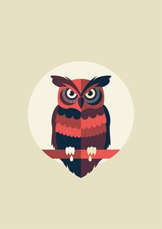 Awesome shapes used in this owl illustration. Love the way the tail interacts with the bottom of the circle. Owl Vector, Vector Art, Buho Logo, Icon Design, Design Art, Flat Design, Owl Graphic, Owl Wallpaper, Whimsical Owl